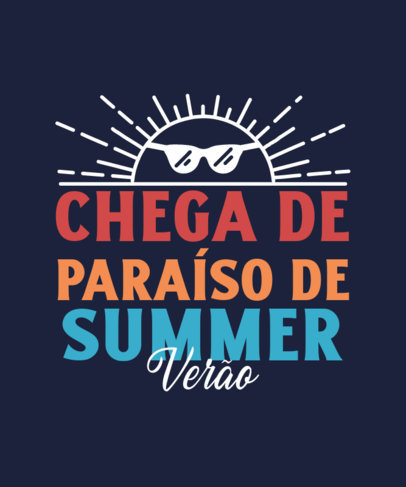 T-Shirt Design Template With a Summer-Themed Quote and a Sun Clipart 3843b