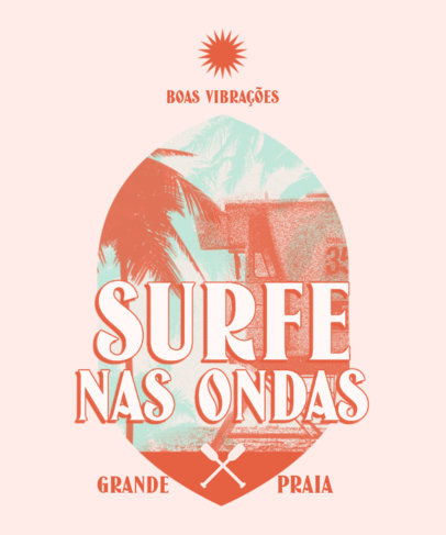 Summer T-Shirt Design Generator for Surfing Enthusiasts Featuring Retro-Styled Graphics 3844n