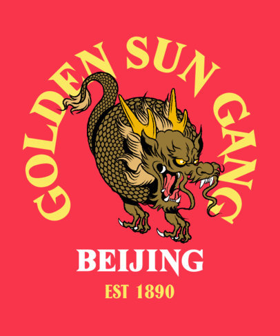 Chinese-Inspired T-Shirt Design Creator Featuring a Dragon Graphic 3676b