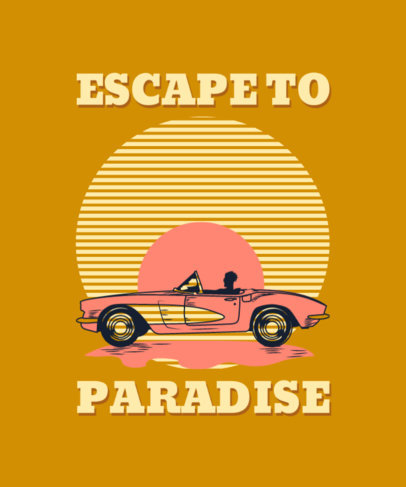 Retro T-Shirt Design Template With a Summer Theme and a Car Clipart 3842a