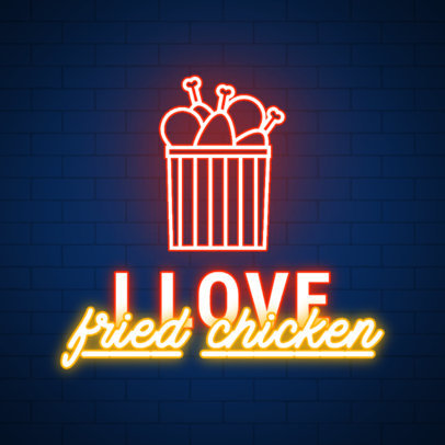 Fried Chicken-Themed Instagram Post Creator for Junk Food Day 3851n