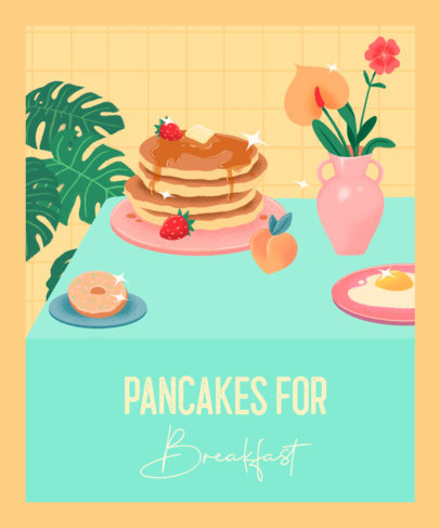 T-Shirt Design Template Featuring Illustrated Pancakes with Sparkles 3847c