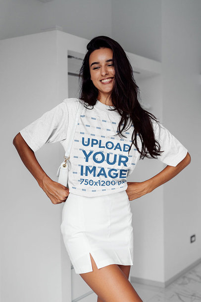 Unisex T-Shirt Mockup of a Happy Long-Haired Woman Posing m6311-r-el2