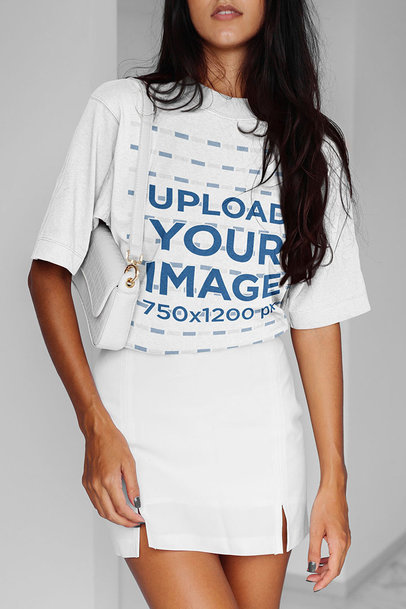 Unisex T-Shirt Mockup of a Woman With A Fashionable Style m6314-r-el2