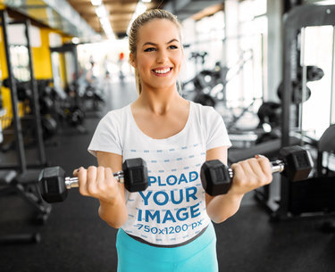 T-Shirt Mockup of a Woman Doing Bicep Curls at the Gym 45415-r-el2
