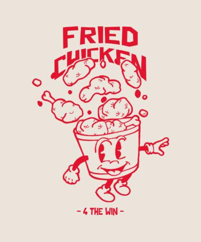 Junk Food T-Shirt Design Template Featuring a Bucket of Fried Chicken 3849a