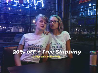 Facebook Ad - Pair of Girls Wearing T-Shirts While at a Restaurant at Night a16429