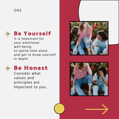 Instagram Post Design Template for a Carousel With Self-Confidence Advice 4158d-el1