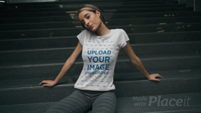 Round-Neck Tee Video of a Woman Posing by a Staircase 3469v