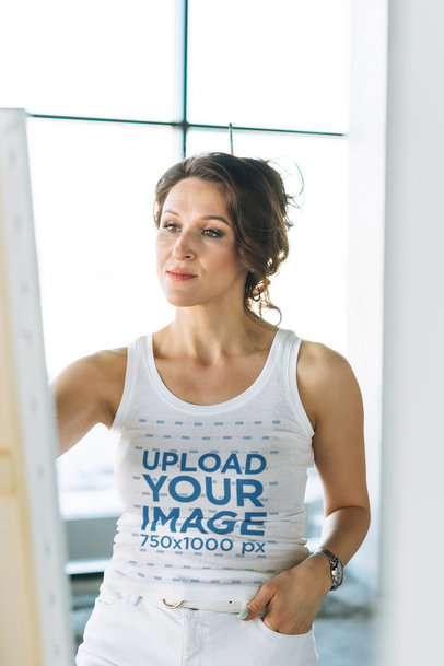 Tank Top Mockup Featuring an Inspired Woman Painting M7557-r-el2