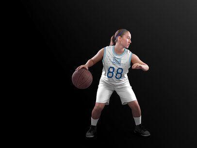 Basketball Jersey Maker - Teen Girl Dribbling in Studio a16507