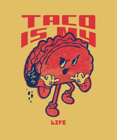 T-Shirt Design Maker With a Taco Cartoon and a Junk Food Day Theme 3849f
