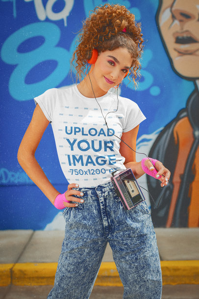 T-Shirt Mockup Featuring a Curly-Haired Woman in a Retro Outfit Listening to Music m11586