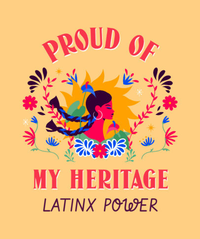 Colorful T-Shirt Design Maker Featuring a Quote for Hispanic Heritage Month 3858d