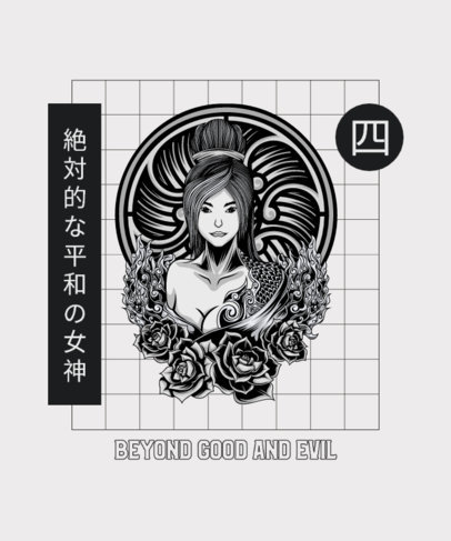 T-Shirt Design Template with a Female Japanese Character 4177a-el1