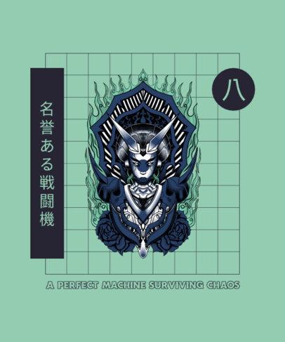 T-Shirt Design Creator Featuring a Fictional Japanese Sorceress 4177c-el1
