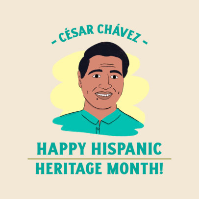 Instagram Post Template Featuring a Cesar Chavez Illustrated Portrait 3860b