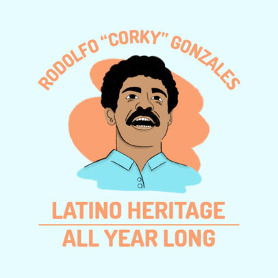 Instagram Post Maker for Hispanic Heritage Month with an Illustration of Corky Gonzales 3860e