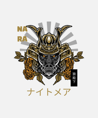 T-Shirt Design Template with a Samurai-Themed Graphic 4173d-el1