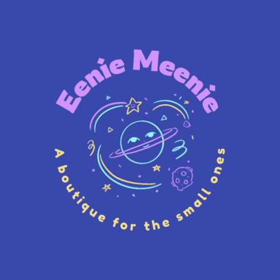 Kids' Boutique Logo Template Featuring a Planet Doodle 4497f