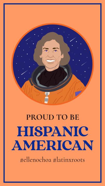 Hispanic Heritage Month-Themed Instagram Story Design Maker With an Illustration of Ellen Ochoa 3863c