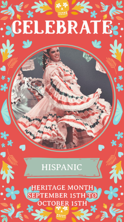 Hispanic Heritage Month-Themed Instagram Story Design Maker Featuring Colorful Graphics and Pictures 3864d