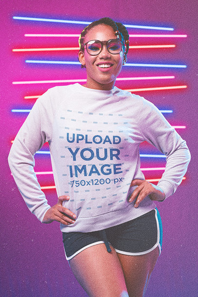 Sweatshirt Mockup of a Fabulous Woman Using '80s-Styled Activewear m11208