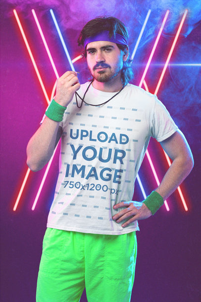 T-Shirt Mockup of a Man Dressed as a Coach From the 80's m11215