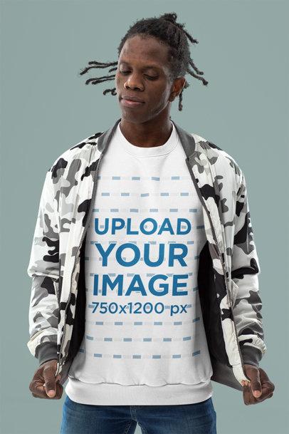 Sweatshirt Mockup of a Stylish Man Standing in a Studio m10784