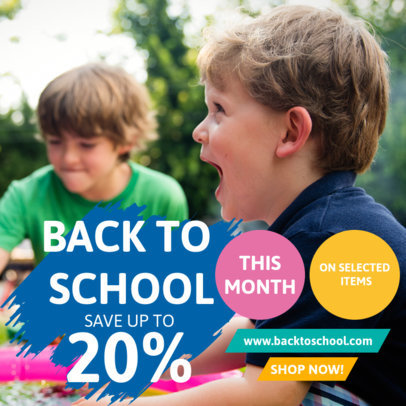 Back-to-School Instagram Post Design Creator Featuring Pictures and Discounts 4215-el1