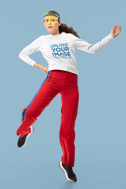 Sweatshirt Mockup Featuring a Woman Posing in a Studio m10756