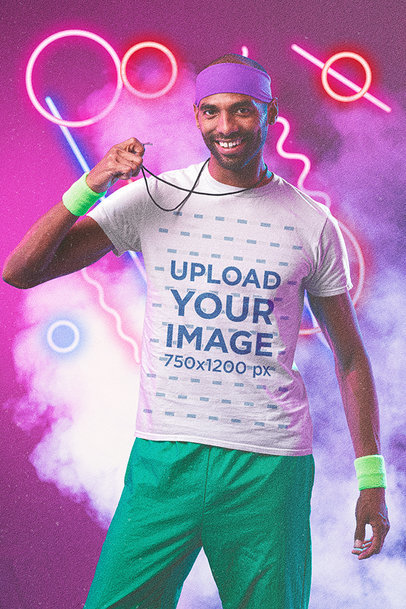 T-Shirt Mockup of a Man with an 80's Athletic Outfit m11181