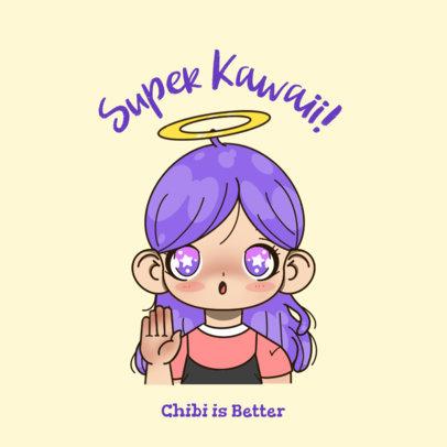 Logo Creator Featuring a  Kawaii Avatar with Big Eyes 3300k