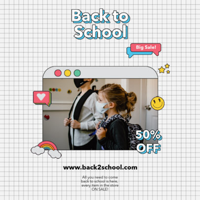 Instagram Post Design Template With a Back-to-School Theme 4209-el1