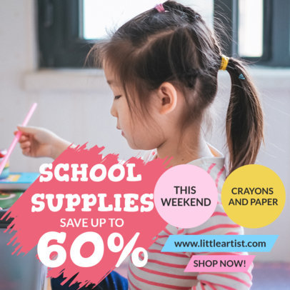 Instagram Post Design Maker Featuring a Back-to-School Sale and Pictures 4215b-el1