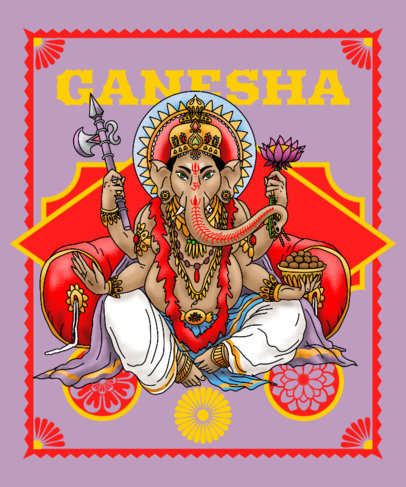 Hinduism-Themed T-Shirt Design Creator with a Graphic of Ganesha 3893b