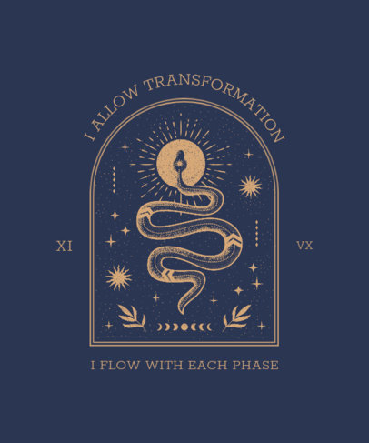 Esoteric T-Shirt Design Template with a Snake Graphic 3887d
