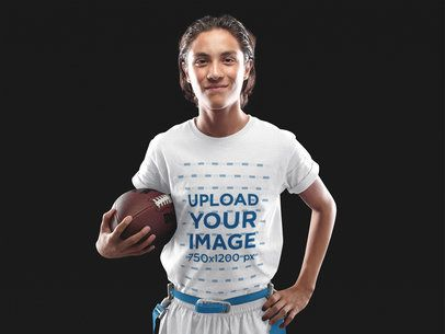 Custom Football Jersey - Teenager Smiling While Holding the Ball a16583