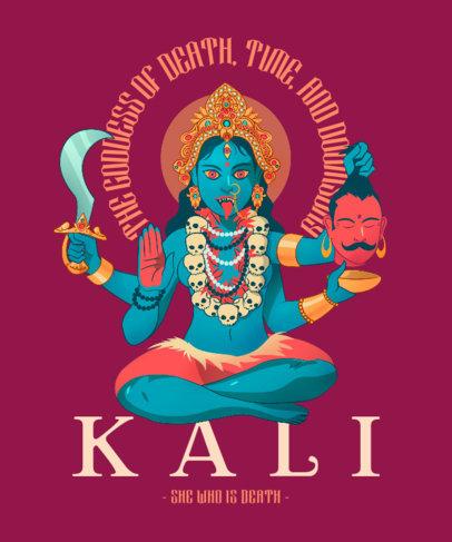 T-Shirt Design Maker with an Illustration of the Hindu Goddess of Death 3891d