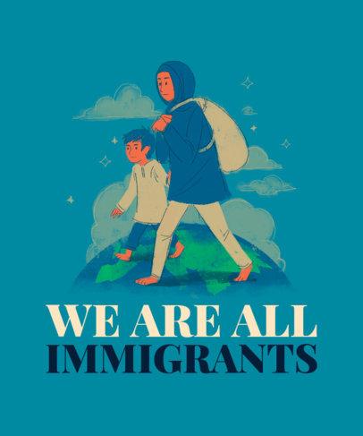 T-Shirt Design Creator Featuring Illustrated Immigrants 3881b