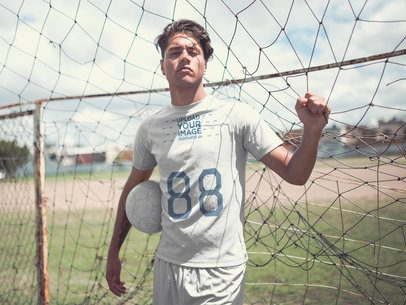 Custom Soccer Jerseys - Dude Holding the Net and the Ball a16557