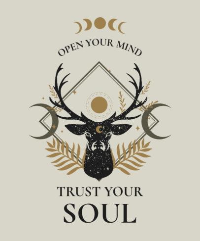 Esoteric T-Shirt Design Template Featuring a Deer Illustration and a Quote 3885b