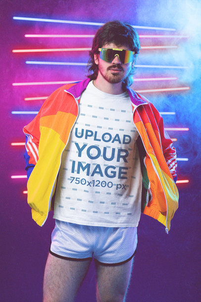 80s-Themed T-Shirt Mockup of a Man with a Mullet Wearing Activewear M11218