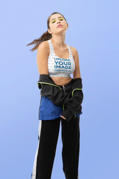 Sports Bra Mockup Featuring a Woman with Neon Makeup  m10748