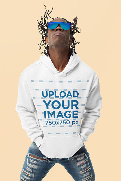 Hoodie Mockup Featuring a Fashionable Man With Braids m10775