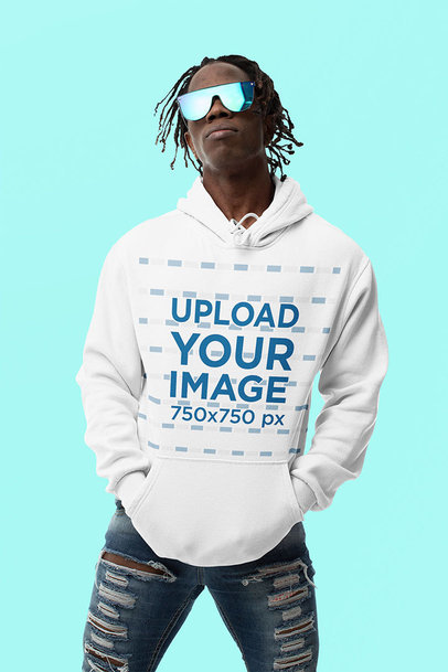 Hoodie Mockup of a Man with Cool Locs m10777