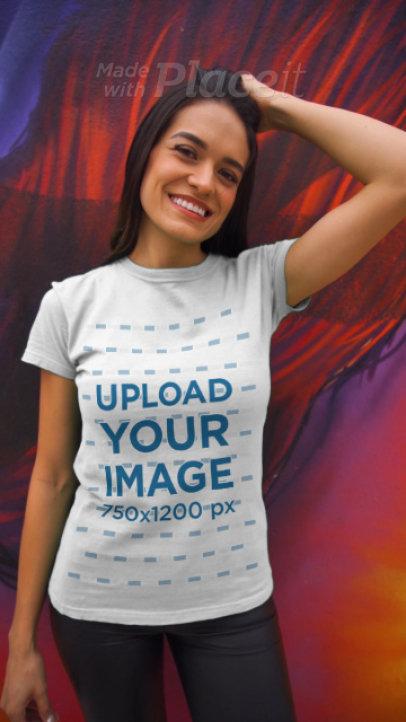 T-Shirt Video Featuring a Woman Posing Next to a Graffiti Wall 3622v