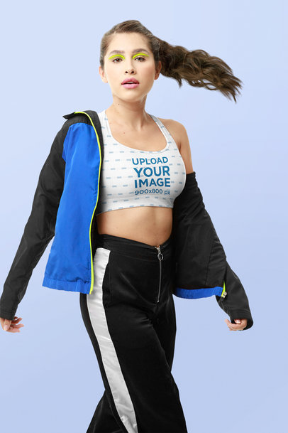 Sports Bra Mockup of a Woman With an Athleisure Outfit and Neon-Colored Makeup m10747
