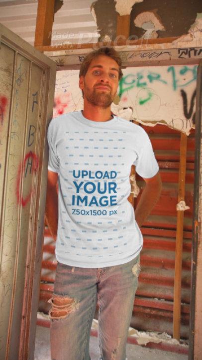 T-Shirt Video Featuring a Man Posing by Graffiti Walls 3641v