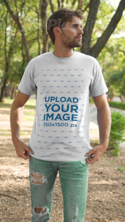 T-Shirt Video of a Young Man in the Forest 3640v